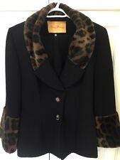 Saint-Honore Paris Women's Black Blazer Skirt Suit Faux Leopard Fur Trim Size 40