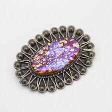 Sterling Silver Vintage Filigree Oval Foil Art Glass Brooch
