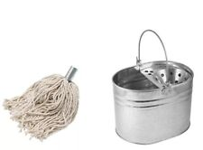 HEAVY DUTY METAL MOP BUCKET GALVANISED STRONG 16L FOR CLEANING + FREE MOP NEW