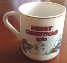 SMURFS COFFEE MUG MERRY CHRISTMAS 1982 PAPA SMURF