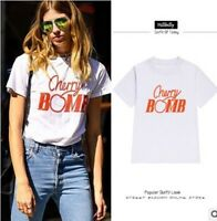 Cherry BOMB T Shirt Girl Short Sleeve Letter Print Graphic Tee Tops Fashion New