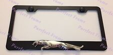 Jaguar 3D Emblem Black Stainless Steel License Plate Frame Rust Free W/ Caps