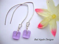Square Purple Frosted Sea Glass Silver Marquise Dangle Earrings USA HANDMADE