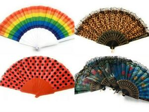 Chinese Spanish Fans Dance Party Hand Held Folding Flower Rainbow Leopard Fan