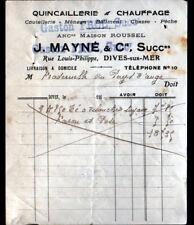 """DIVES-sur-MER (14) QUINCAILLERIE """"J. MAYNE / Gaston FROC Succ"""" en 1910"""
