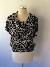 WHISTLES BLACK,CREAM & LILAC PRINT ZIP SHOULDER SILK TOP SIZE 8