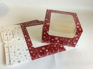 """8"""" Christmas Gateaux Clear Window Cake Boxes - Various pack sizes"""