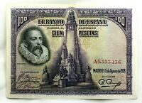 Spain-Billete. Cervantes. 100 Pesetas. 1928. Serie A. EBC/XF.
