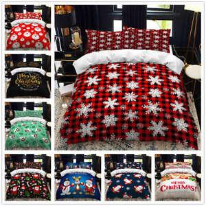Christmas Santa Duvet Cover Lovely Hd Pattern Printing Bedding Set Pillowcase