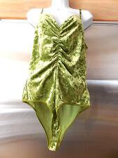 BISOU BISOU ALIEN Green Crush Spandex Velour BODYSUIT TOP Cami NEW NWT Lg Dancer