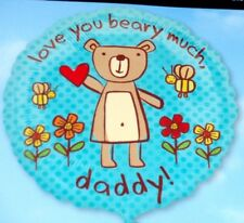 "18"" FOIL BALLOON FATHERS DAY BIRTHDAY LOVE YOU BEARY MUCH DADDY  - uk seller"