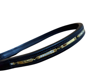 Designer Crystal   Browband  ,Polo Leather Brown Full (417/12-13)