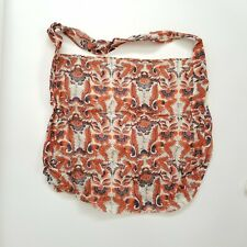 Free People Reusable Linen Beach Yoga Lightweight Orange BOHO Floral Tote Bag