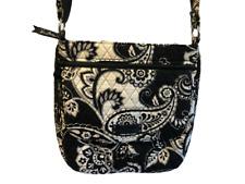 VERA BRADLEY Black & White Midnight Paisley Print Crossbody / Shoulder Bag