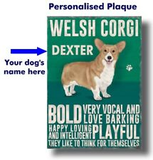 PERSONALISED Welsh Corgi Dog Breed Plaque Sign gift Any Name wall door vintage