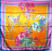 "SCARF 35"" x 35"" Square Orange Background Green Pink Blue Floral BIRDS & FLOWERS"