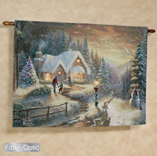 Country Christmas Homecoming Fiber Optic Tapestry Wall Hanging ~ Thomas Kinkade