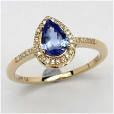 14K Gold, 2.28CT Tanzanite Pears And White Round Diamond Ring
