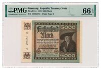 GERMANY banknote 5000 Mark 1922 PMG MS 66 EPQ Gem Uncirculated