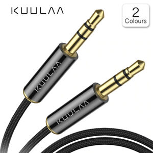 KUULAA 3.5mm Stereo Jack Audio Aux Braided Cable Male to Male - 0.5m 1m 1.5m