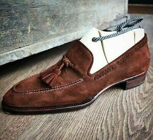 Handmade brown suede leather shoes, dress moccasin slip ons men, loafer shoes