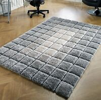 LARGE THICK SOFT 3D CARVED PILE SILVER GREY CREAM SQUARES BLOCKS CUBES CUBE RUG