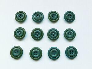 """Set 12 Vintage 40s-50s Buttons Olive Green 4-Hole Flat Rim 11/16"""" Metal Back"""