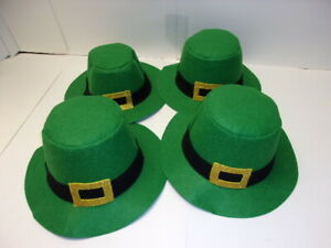 Lot of 4 St Patricks Day Green Leprechaun Top Hats Party Supply NK-4