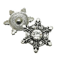3D Snowflake Rhinestons Chunk Charm Snap Button Fit For Noosa Necklace/Bracelet