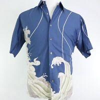 TORI RICHARD HONOLULU SHORT SLEEVE BLUE FLORAL BUTTON UP HAWAIIAN SHIRT MENS M