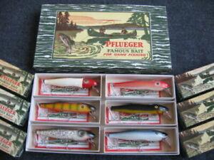 Rare Vintage Pflueger MUSTANG Musky Saltwater Fishing Lure 6-Pack DEALER DISPLAY