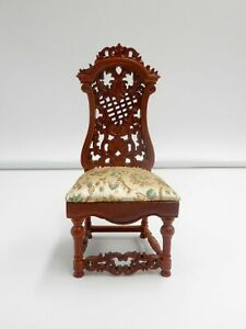 New Vintage Dollhouse Miniature Furniture Wooden Carved Chair Kitchen 1:12 Scale