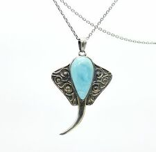 Larimar Stingray Necklace, Stunning Oxidized .925 Sterling Silver, 7.4 grams