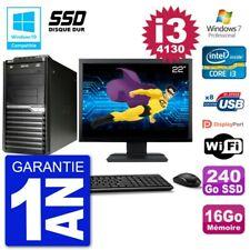 "PC Acer Veriton M4630G MT Ecran 22"" i3-4130 RAM 16Go SSD 240Go DVD Wifi W7"