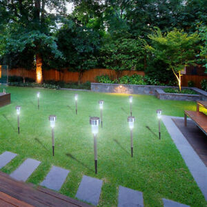 7pcs 5W High Brightness Solar Power LED Lawn Lamps with Lampshades White silver
