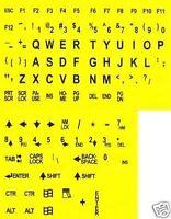 Large Print English Keyboard Stickers Black on Yellow