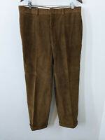 Ben Silver Thick Corduroy Pants Brown Flat Front Vintage Made USA 36-28