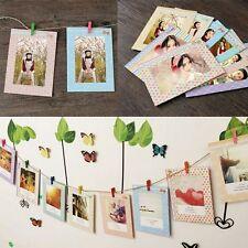 """8PZ 6"""" Portafoto da Parete Multiplo Cornice Foto In Carta Decoro Con Clip +Corda"""