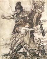 'FASOLT SEIZES FREIA....'1928 VINTAGE PRINT.Illustrated ARTHUR RACKHAM. Pl.7