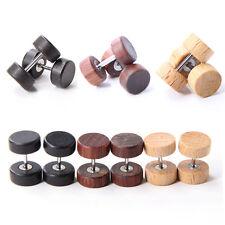 Vintage Wood Stainless Steel Fake Cheater Ear Plugs Barbell Stud Earring YH