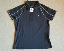 """NWT Womens Top-ASHWORTH-gray stretch polo """"weather system"""" performance/golf ss-M"""