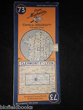 Vintage French Michelin Map of Clermont/Lyon (Feuille 73/Carte de France) c1946