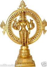 """Master Statue Sudarshana Avatar Jai God Vishnu 17"""" Golden Hue Brass Hindu 5.2 KG"""