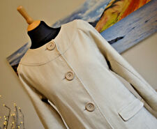 BODEN Jacket Coat Lined Khaki Sand Beige 3/4 length sleeves Large Buttons Sz. 12