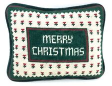 Vintage Needlepoint Holiday Accent Pillow Merry Christmas Farmhouse Country