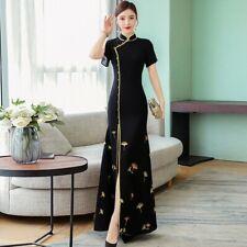 Womens Chinese Style Embroidery Cheongsam Hem Split Long Dresses Evening Summer