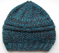 Hand knitted Baby Hat  Petrol Blue with fleck  Newborn