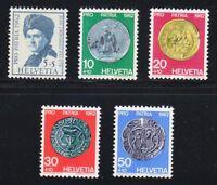 Switzerland 1962 MNH Mi 751-755 Sc B313-B317 Money,Coins & Jean Jacques Rousseau
