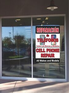 Spanish CELL PHONE REPAIR Window Wall Sticker Business Advertising Professional