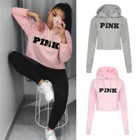 Womens Hoodie Sweatshirt Hooded Jumper Sweater Long Sleeve Crop Pullover Tops